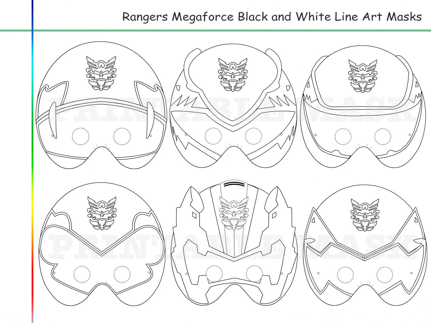 Coloring Pages Rangers 6 Megaforce Party Printable Black