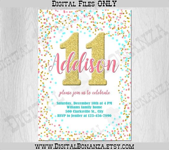11th birthday invitation pink teal gold
