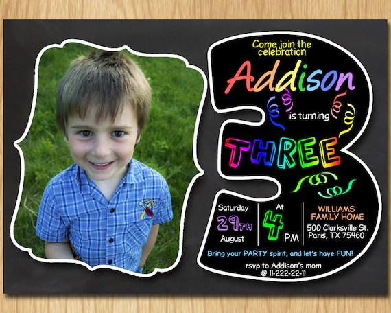 3rd birthday invitation chalkboard