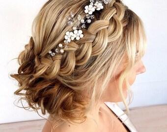 wedding hair vine bridal headband wedding hair accessories wedding headband vine headpiece bridal head wreath boho bridal hair jewelry