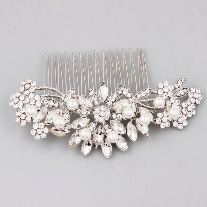 bridal hair comb silver, bridal hair piece, pearl hair comb, wedding hair comb, crystal hair comb, bridal headpiece, bridal hair accessories