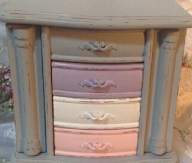 Jewelry Box Shabby Chic Jewelry Armoire Wooden Hand Painted Gray Distressed Jewelry Box Vintage Grey