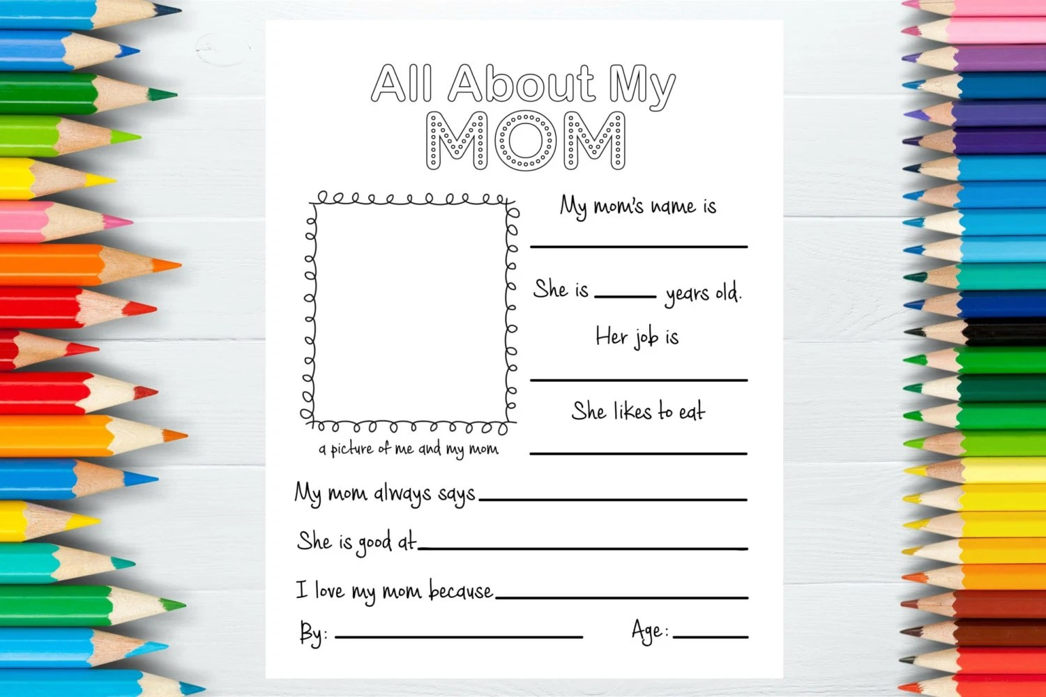 All About My Mom Mother S Day T Printable