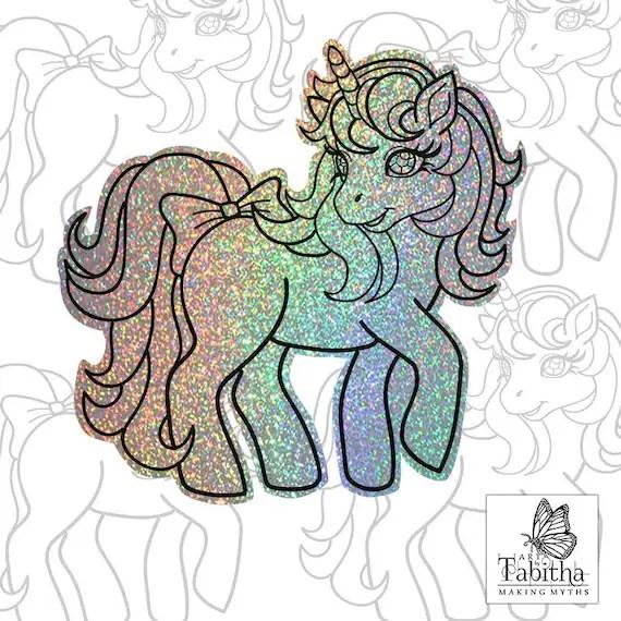 Retro My Little Pony Unicorn Sticker G1 Sparkly Holographic Etsy