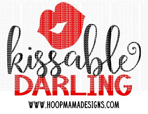 Download Kissable Darling Valentine's Day SVG DXF eps and png Files ...