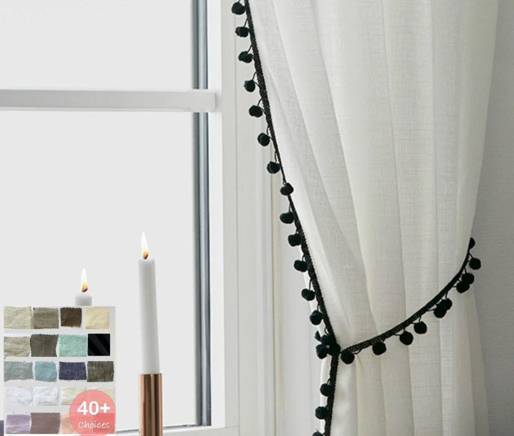 rideaux en lin avec details de pompon choix de tissu de lin de 40 rideaux personnalises drapes