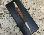 Crosscut Zebra Wood EDC DuraClick Pen With Aluminium Accents, Handcrafted