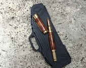 Wood Burl and Gold Rifle / Shotgun Rollerball Pen