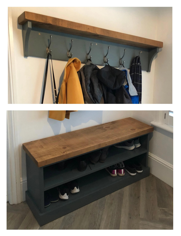 shoe rack and coat hooks package hallway mudroom bootroom etsy