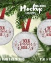 Three Round Button Christmas Ornaments Mockup Template Add Etsy