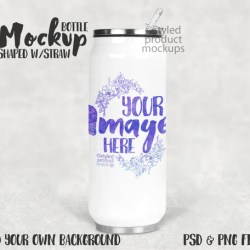 Dye Sublimation Can Shaped Bottle With Straw Mockup Add Your Etsy