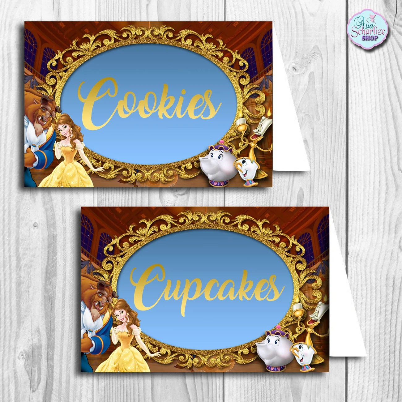 Printable Beauty And The Beast Blank Food Tent Beauty And