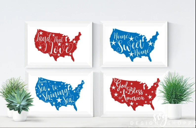 Download 4th of July svg files Land that I love God Bless America ...