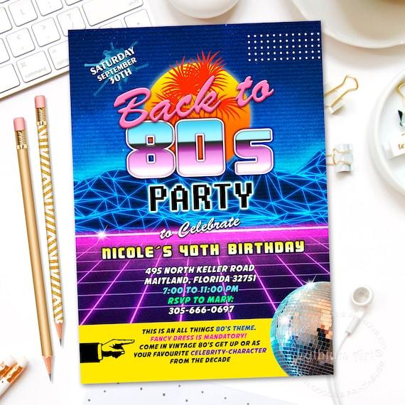 80s party invitation digital file