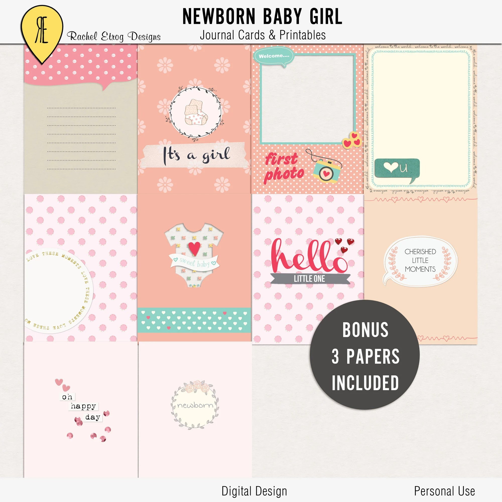 Newborn Baby Girl Journal Cards Instant Download Printable