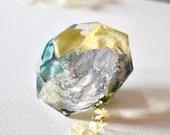Resin Art, Tray Decor, Staging Art, Diamond Paperweight, Paperweight, Flowers, Upcycled Resin Diamond, Blue, Purple, Yellow, Abstract Art