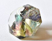 Resin Art, Tray Decor, Staging Art, Diamond Paperweight, Paperweight, Flowers, Upcycled Resin Diamond, Purple, Yellow, Turquoise