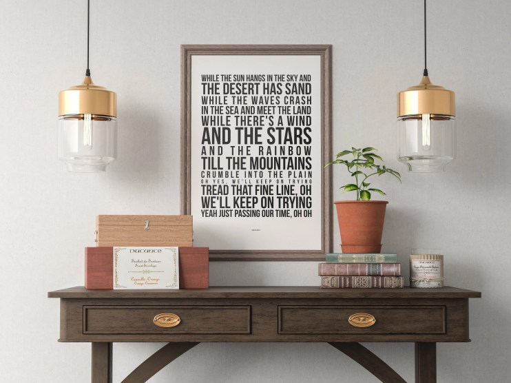 Innuendo - Song Lyrics Typography Queen Freddie Mercury Tribute - PRINTED music Art bedroom office old style lounge kitchen home decor