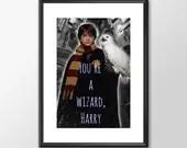 Harry Potter - You're A Wizard Harry - PRINTED - kids Geek man cave nerds bedroom office kids nursery