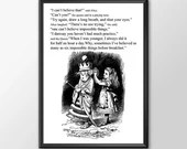 Alice Through The Looking Glass - 6 Impossible Things -  Wall Art bedroom office old style lounge kitchen home decor girls room