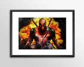 Deadpool 2018 V1 - PRINTED comic book style for the Big Boys Geek man cave nerds bedroom office kids nursery superhero marvel comics