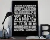 Free Bird - Song Lyrics Typography Lynyrd Skynyrd Tribute - PRINTED music Art bedroom office lounge home decor