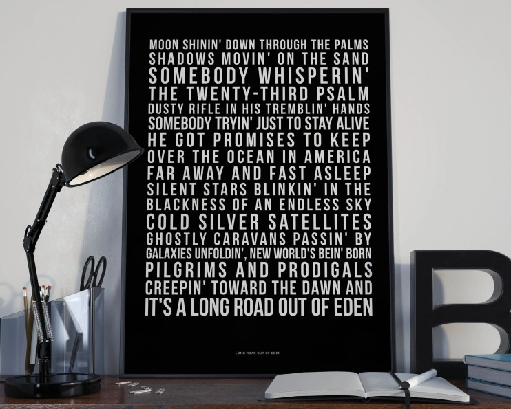 Long Road Out Of Eden - Song Lyrics Typography The Eagles Tribute - PRINTED music Art bedroom office lounge home decor