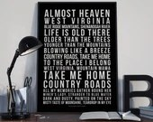 Take Me Home Country Roads - Song Lyrics Typography John Denver Tribute - PRINTED music Art bedroom office lounge home decor