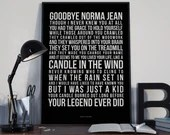 Candle In The Wind -  Lyrics Typography Elton John Tribute - PRINTED music Art bedroom office lounge home decor
