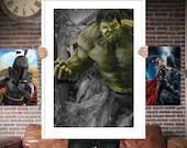 Hulk Avenger PRINTED  for the Big Boys Geek man cave nerds bedroom office kids nursery superhero marvel comics avengers