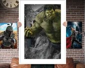 Hulk Avenger PRINTED  for the Big Boys Geek man cave nerds bedroom office kids nursery superhero marvel comics avengers