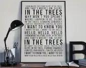 Trees - Song Lyrics Typography Twenty One Pilots Tribute - PRINTED music Art bedroom office lounge home decor