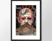 Pinhead from the Hellraiser Movies - Movie Maniac  - Original Digital Art - PRINTED Boys Geek  man cave nerds bedroom office horror classic