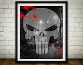 The Punisher Logo - PRINTED -  for the Big Boys Geek man cave nerds bedroom office superhero marvel comics