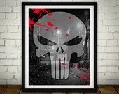 The Punisher Logo - PRINTED -  for the Big Boys Geek man cave nerds bedroom office superhero marvel comics