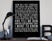 How Do I Live - Song Lyrics Typography LeAnn Rimes Tribute - PRINTED music Art bedroom office lounge home decor