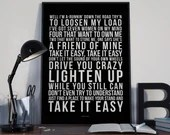 Take It Easy - Song Lyrics Typography The Eagles Tribute - PRINTED music Art bedroom office lounge home decor