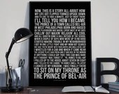 Fresh Prince Of Bel-Air - Tv Theme Lyrics Typography Will Smith Tribute - PRINTED music Art bedroom office lounge home decor