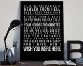 Wish You Were Here - Song Lyrics Typography Pink Floyd Tribute - PRINTED music Art bedroom office lounge home decor