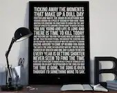 Time - Song Lyrics Typography Pink Floyd Tribute - PRINTED music Art bedroom office lounge home decor