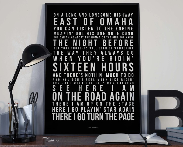Turn The Page - Song Lyrics Typography Bob Seger Metallica Tribute - PRINTED music Art bedroom office lounge home decor