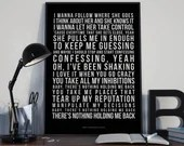 There's Nothing Holdin' Me Back - Song Lyrics Typography Shawn Mendes Tribute - PRINTED music Art bedroom office lounge home decor