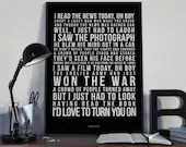 A Day In The Life - Song Lyrics Typography The Beatles Tribute - PRINTED music Art bedroom office old style lounge home decor