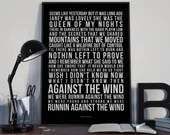 Against The Wind - Song Lyrics Typography Bob Seger Metallica Tribute - PRINTED music Art bedroom office lounge home decor