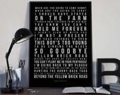 Goodbye Yellow Brick Road - Song Lyrics Typography Elton John Tribute - PRINTED music Art bedroom office lounge home decor