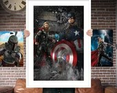 Captain America and Thor PRINTED  for the Big Boys Geek man cave nerds bedroom office kids nursery superhero marvel comics avengers