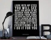 Everything I Do I Do It For You - Song Lyrics Typography Bryan Adams Tribute - PRINTED music Art bedroom office lounge home decor