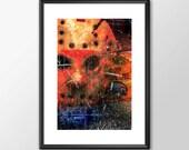 Jason from the Friday the 13th  - Movie Maniac  - Original Digital Art - PRINTED Boys Geek  man cave nerds bedroom office horror classic