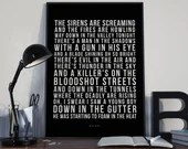 Bat Out Of Hell - Song Lyrics Typography Meatloaf Tribute - PRINTED music Art bedroom office lounge home decor