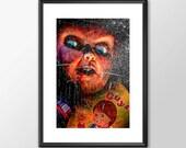 Chucky From Child's Play Movie Maniac  - Original Digital Art - PRINTED Boys Geek  man cave nerds bedroom office horror classic